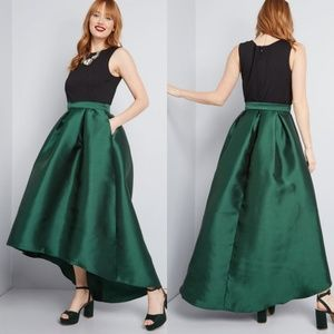 NWOT Modcloth Hutch Hunter Green Satin Ball Gown